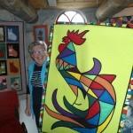 Anneke Tuitman se svým kohoutkem ve větrném mlýně