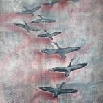 """Sout쾞 byla na téma """"Flight"""" – let, ale i útěk. V klasické části převažoval motiv """"letící husy"""" . Převážná část quiltù se různými formami zabývala tématem – útěk, migrace, přesuny lidí.."""